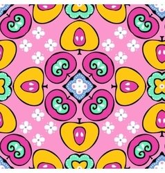 seamless pattern of fruits and flowers vector image