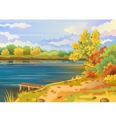Autumn landscape outdoors river shore vector image vector image