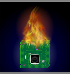 burning circuit board pattern high tech symbol vector image vector image
