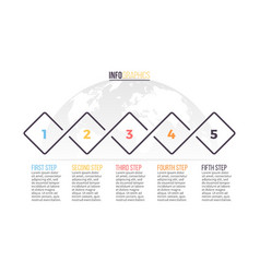 Business infographics timeline with 5 steps vector