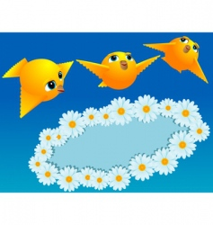 Chamomiles and canaries vector