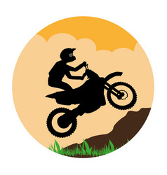 Circular landscape with sports motorcyclist vector