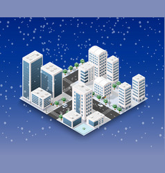 City winter landscape vector