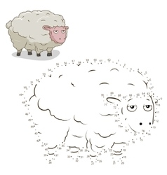 Connect the dots game sheep vector
