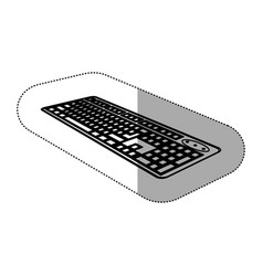 Contour computer keyboard icon vector