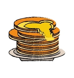 Delicious pancakes maple syrup sketch vector