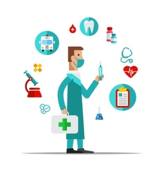 Doctor Health care medical items Flat style vector image vector image