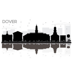 Dover city skyline black and white silhouette vector