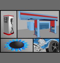 Gas industry set vector