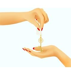 golden key in hand vector image vector image