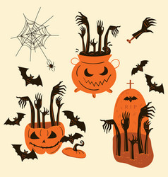 Halloween zombie hands trick or treat objects vector