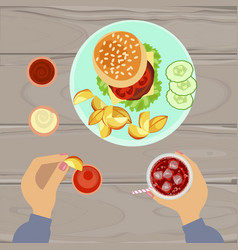 hamburger and french fries vector image vector image