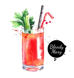 Hand drawn sketch watercolor cocktail bloody mary vector