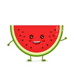 happy cute smiling funny watermelon vector image