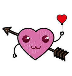 Heart love card with arrow kawaii character vector