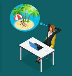 Isometric office worker or business woman in the vector