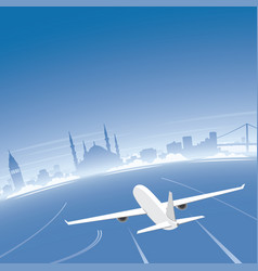 istanbul skyline flight destination vector image vector image