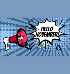 megaphone pop hello november vector image