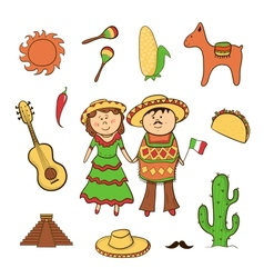 Mexican icon set vector image vector image