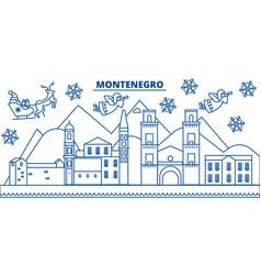 Montenegro winter city skyline merry christmas vector