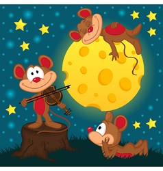 mouse with violin on a stump under the moon vector image