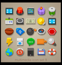 multimedia icon set-9 vector image vector image