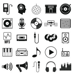 Music set icons in silhouette style vector