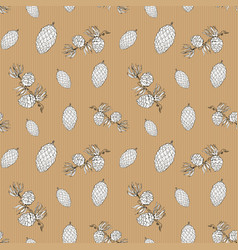 Pine cones hand drawn sketch retro vintage vector