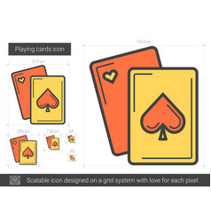 Playing cards line icon vector
