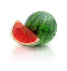 Ripe watermelon with a slice on white background vector