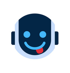 robot face icon smiling face showing tongue vector image