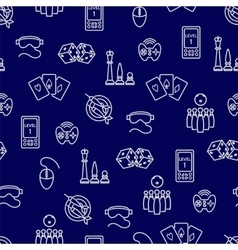 Seamless pattern with outline game accessories vector image