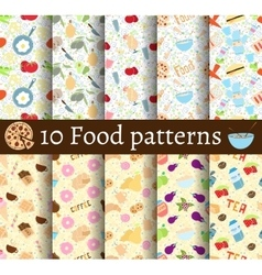 set of 10 food seamless patterns vector image
