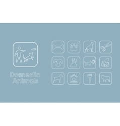 Set of domestic animals simple icons vector