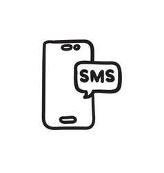 Smartphone with message sketch icon vector