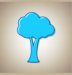 tree sign sky blue icon with vector image