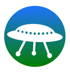 Ufo simple sign white icon in bluish vector