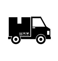Van with box delivery service icon vector