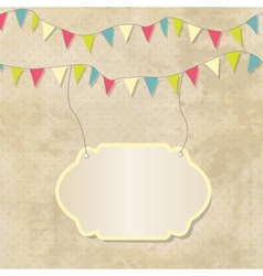 Vintage frame with birthday bunting flags vector