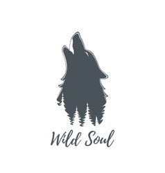Wolf howling logo template vector