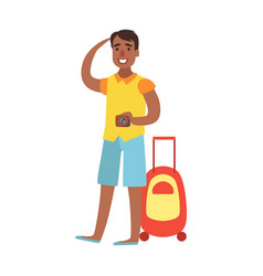 Young man standing with suitcase and holding vector