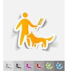 Realistic design element caring for a dog vector