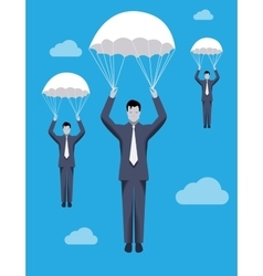Golden parachute business concept vector