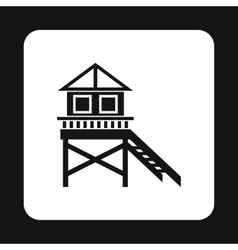 Rescue booth on beach icon simple style vector