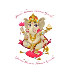 Cartoon representation of eastern god ganesha with vector