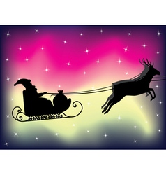 Santa sleigh over polar lights vector