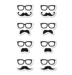 Geek glasses and moustache or mustache labe vector