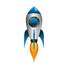 Rocket launcher startup isolated icon vector