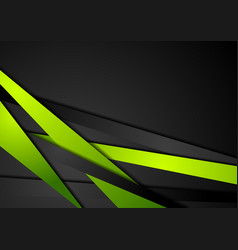 Abstract tech green black stripes design vector
