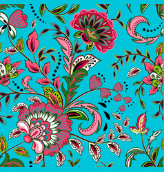 seamless pattern with fantasy flowers natural vector image